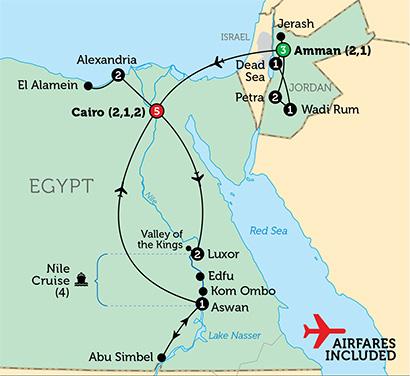 egypt-jordan-map